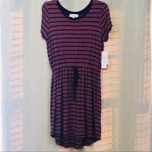NWT Olive & Oak Pink & Navy Tie Waist Knit Dress